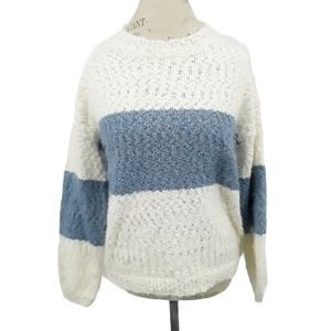 NWT Knox Rose Blue and White Striped Fuzzy Sweater